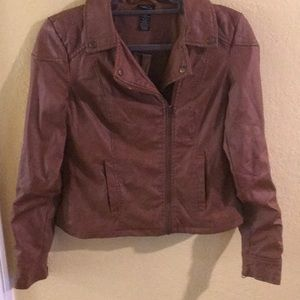 Rue 21 brown faux leather jacket s motorcycle